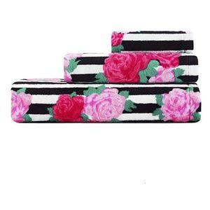 Betsey Johnson 3-Pc Flower Stripe Towel Set